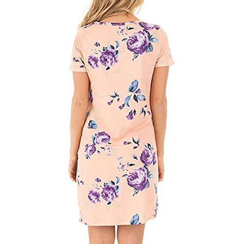 Femme Manches Courte Mini Robe de Plage Courte Robe de Soirée Imprimé Floral T-Shirt Decontractee Longue Tunique Top Blouse Rose
