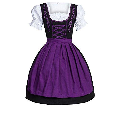 Bongossi-Trade Dirndl 3 TLG.Trachtenkleid Kleid, Bluse, Schürze, Gr. 42 schwarz violett