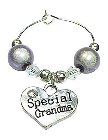 Special Grandma Wine Glass Charm with Gift Card Handmade by Libby's Market Place