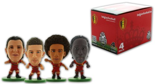 SoccerStarz 4 Figurine Blister Pack of Belgium International Stars in The Home Kit Featuring Witsel  Alderweireld  Van Buyten and Lukaku