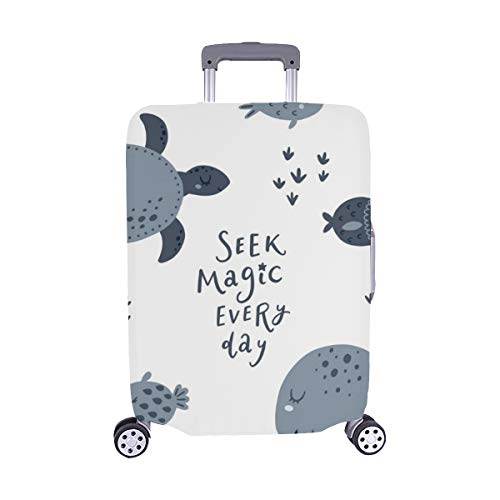Meer Poster Turtle Fish Quallen isoliert Spandex Trolley Reisegepäck Beschützer Koffer Cover 28,5 X 20,5 Zoll -