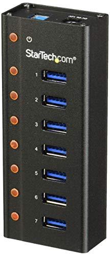 StarTech.com 7 Port USB 3.0 Hub (Metallgehäuse, Desktop oder Wandmontierbar, Kompakter 7-fach Verteiler SuperSpeed Hub) (Usb Hub 3 Startech)