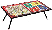 V4L Wooden Ludo, Snakes and Ladders Printed Foldable Eating and Study Multipurpose Bed Table (55cm x 30cm x 20