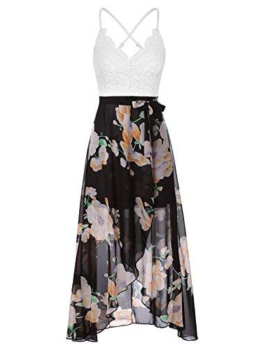 Blooming Jelly Neckholder Chiffon Spitze V Asymmetrische Maxi Blumenkleider für Frauen Sommer Urlaub Kleid Kleid