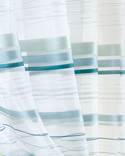 ORGANZA Voile Panel TEAL AQUA WHITE SILVER Net Sheer Curtain Panel Size: 150x180cm/59×71