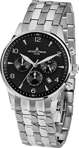 Jacques Lemans Hommes Chronographe Quartz Montre avec Bracelet en Acier Inoxydable 1-1654ZE