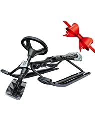 Team Magnus Tundra Wolf Snow Racer Sledge with Steering Wheel and Brakes - Sit and Scoot Snow Sledge for Kids Ages 6 and Up - Holds Two Children or One Adult