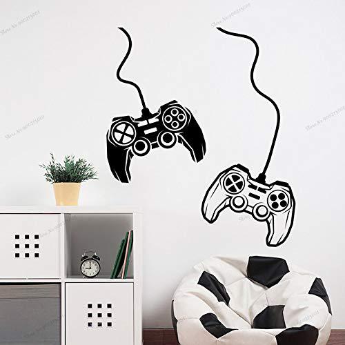 XCJX Gamer Wall Decal Zwei Joysticks Aufkleber Videospiel Aufkleber für Jungen Spielzimmer Dekor Gamer Aufkleber Playstation Aufkleber Kinderzimmer 57X49CM