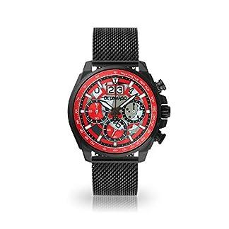 Detomaso Livello Hombre Reloj de Pulsera Cronógrafo analógico de Cuarzo Negro Milanaise Pulsera Carcasa Negra de Acero Inoxidable
