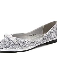 acd73a90dffe PDX femme Chaussures Talon Plat Bout Pointu Chaussures plates décontracté  Noir argent