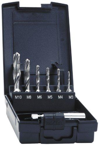 Exact 05910  Kombigewindebohrersatz 7-teilig HSS M3-M10 inkl. Bithalter (mit patentierter ROTAPLUS ® Induktionszone reduziert Bruchgefahr)