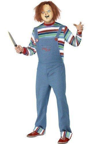 iert Halloween Film SCHRECKEN Horror Kostüm Kleid Outfit mit Maske - Blau, Blau, Medium/38-40