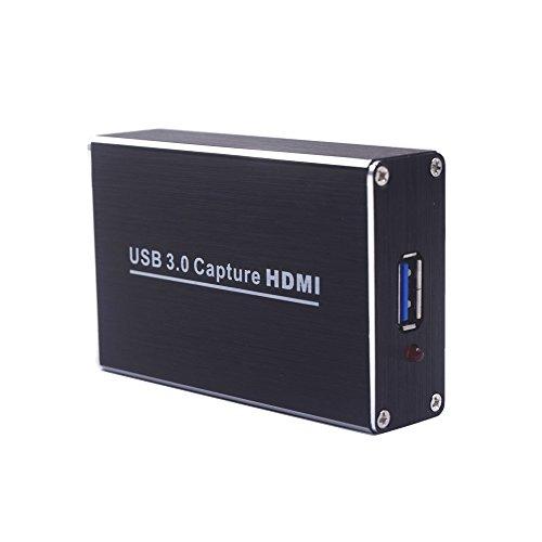Video Capture Karte, HDMI zu USB3.0 HD 1080P Capture Dongle mit HDMI und USB3.0 Kabel für Live Streaming Videospiel für PS3 PS4 Xbox One 360 Wii U, Drive-Free Kompatibel mit Windows Linux Os X System