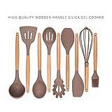 Utensili da cucina Set di utensili da cucina 9 pezzi - Utensili da cucina in silicone - Utensili in silicone - Utensili da cucina - Cucchiai di cottura in manico di legno - Utensili in silicone Set da