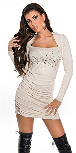 Sexy KouCla Strickminikleid gerafft mit Strass Koucla by In-Stylefashion SKU 0000ISF825801 Beige