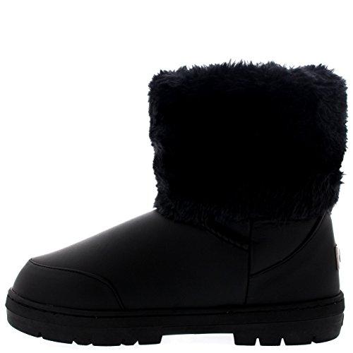 Damen Cuffed Pelz Gefüttert Side Schnalle Knöchel Ziehen Sie Am Stiefel Schuh Stiefel Schwarz Leder