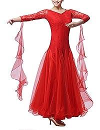 Wangmei Vestidos de Baile de Salón para Mujeres Actuación Vals Tango  Competencia Ropa de Baile Leotardo 36226e7068a0