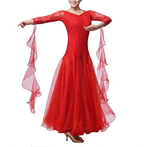 ür Frauen National Standard Ballsaal Tanz Outfit Spitzennähte Tango Walzer Übungsrock Tüll-Schaukel, Red, XL ()