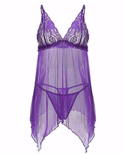 ZANZEA Femmes Eté Sexy Halter Lingerie Perspective Bodydolls Dentelle Nuisette Ensemble 1 Vest + 1 String Violet Claire