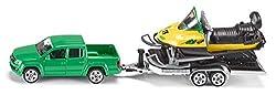 SIKU 2548, Pick-Up mit Anhänger und Snowmobil, 1:55, Metall/Kunststoff, Grün/Gelb, Kippbarer Anhänger