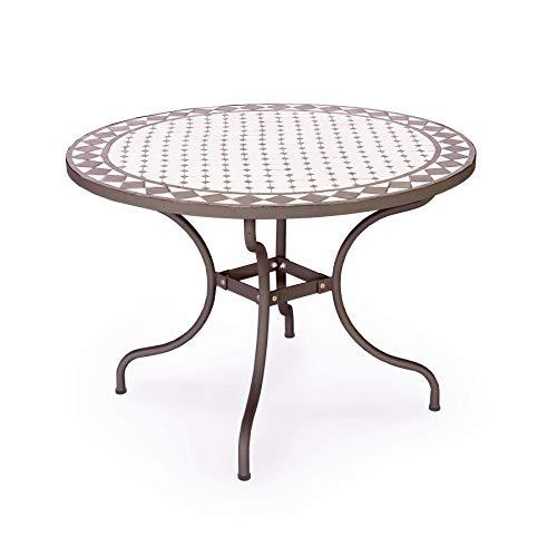 ARREDinITALY Table d'extérieur Ronde de 110 cm avec Plateau mosaïque en céramique
