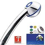 Duschkopf SwissClima BLUE TOP! Kräftig für mehr Druck, zB Durchlauferhitzer und weniger Wasser: verkalkungsfreie Handbrause, Regenstrahl-Aufsatz, 3 Reduzierer, SwissMade