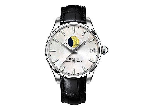 Ball Trainmaster Moon Phase Ladies Automatic Watch, Ball RR1801, NL3082D-LLJ-WH