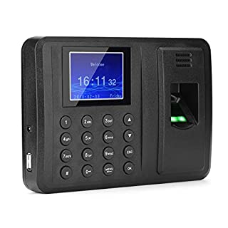 Zerone 2.8 Inch Fingerprint Password Attendance Machine, Color TFT Screen Time Recorder Clocking Fingerprint & Password UK Plug