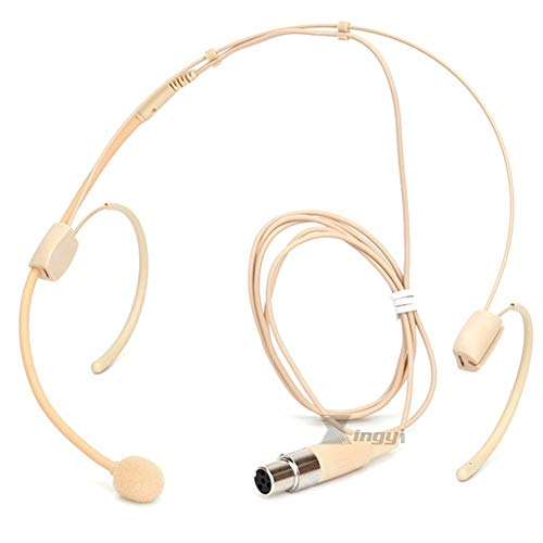 Beige Mini XLR 4 Pin TA4F Headset Mikrofon Headworn Doppel Ohrbügel Mikrofon für Shure Wireless System Transmitter -