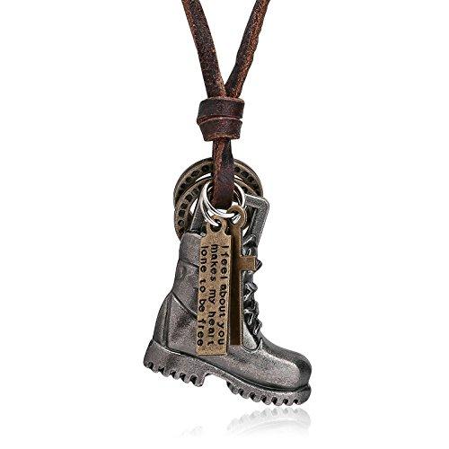 Bishiling Herren Halskette Lederkette Anhänger Stiefel Surferkette Einstellbar Silber Kette Silber (Cowboy-stiefel-kette)
