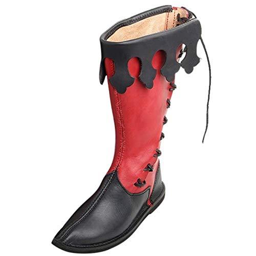 Mann Zinn Kostüm Damen - Lomelomme Halloween Herrenstiefel Lokomotive Retro Style Festival Cosplay Kreuz gebunden Mittelschaft Schuhe Classic Boots Kreuzgurt