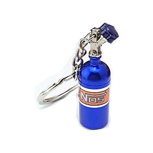 Ogquaton Premium Quality Mini Nos Botella Óxido Nitroso Píldora Caja de Seguridad Auto Coche Llavero Llavero Llavero Azul