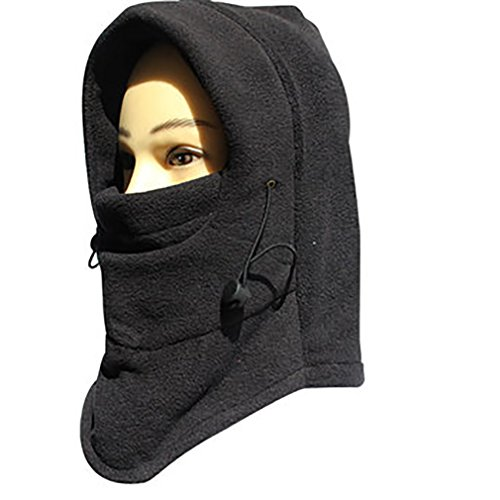 Verstellbare Winddicht Maske, Sturmhaube Gesichtsmaske One Size Winter Unisex Vollgesichtsmaske Fleece HalswäRmer Herren Schwarz für Skifahren / Wandern / Radfahren / Motorrad