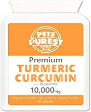 Pets Purest 100% Natural Premium Turmeric For Dogs 10,000mg with Active Bioperine Cats, Horses & Pets Powe