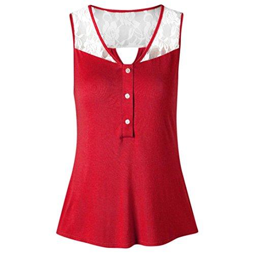 Damen Sommer Tank Crop Tops Vest Tanktops Weste Cami DOLDOA Oberteile T-Shirt Geburtstags Geschenk Für Frauen Mädchen Freundin (EU:40, Rot - 12)