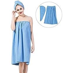 Femme Serviette de Bain Peignoir de Douche Serviette à Cheveux en Coton Séchage Rapide pour Prendre Le Bain et Sauna 150 * 90 cm (Bleu)