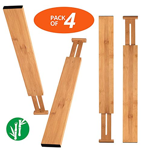 Wa-Very Bambus Küche Schublade Teiler Schubladen-Organisatoren Erweiterbare Schubladen-Teiler Holz Schreibtisch Schublade Organisatoren, Fach Organizer für Küche, Baby Schublade, Badezimmer (Küchen Organizer Schubladen)