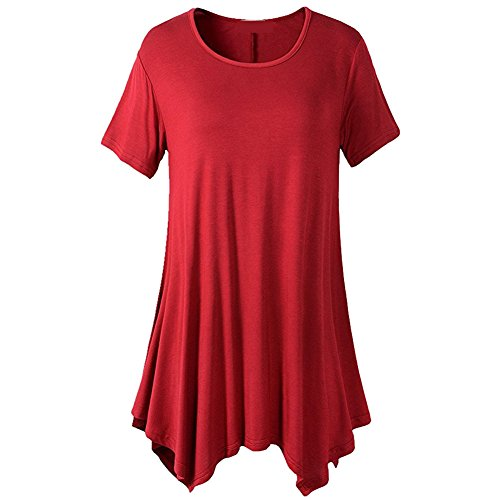 iBaste Damen Kurzarm Asymmetrisch Hem Tunika Tops T-Shirt Stretch Longshirt Einfarbig-Rot