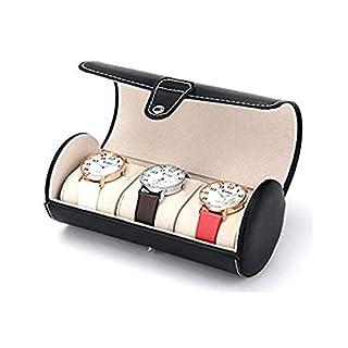 Autoark AW-U06 Uhrenetui / Schmucketui, zur Aufbewahrung von 3 Uhren und / oder Armbändern, aus Kunstleder, Rollenform, Schwarz