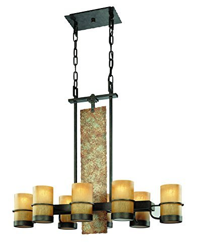 Troy Lighting Bamboo 8-Light Island Pendant - Bamboo Bronze with Natural Slate Finish and Bamboo Glass by Troy -