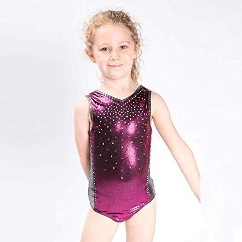 AcEiffel Mädchen Gymnastik Trikots Diamanten funkeln ärmellose Metallic Body Professionelle Gymnastik internationalen Wettbewerben Anzug (S,Pink)