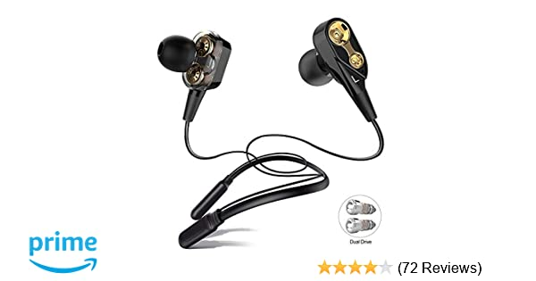 e964228df76 ALWUP Bluetooth Headphones, Wireless Neckband Earphones Double Drivers with  Mic In-Ear Earbuds Bluetooth 5.0 Stereo Headset Microphone Sports Running  Gym ...