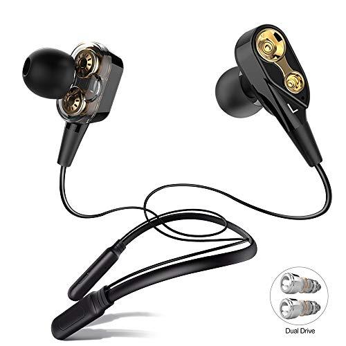 ALWUP Cuffie Bluetooth, Auricolari Senza Fili Wireless con Archetto da Collo Neckband Double Driver Cuffie con Microfono Bluetooth...