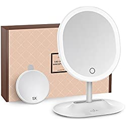 Makeup Mirror Anjou USB Rechargeable Vanity Mirror with 1X / 5 X Magnification, Touchscreen Dimmable LED Light for Countertop Cosmetic Makeup