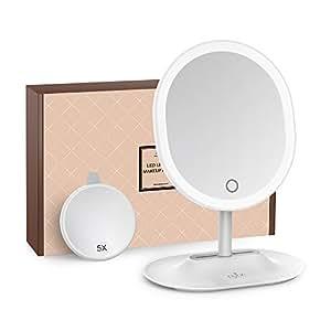 Specchio per Makeup Ricaricabile Anjou, Luce LED Touchscreen Regolabile con Specchio Magnetico 5X Rimovibile, Rotazione a 120° per Cosmesi Makeup su Piano di Lavoro (Bianco)