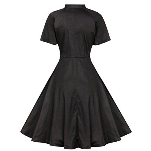 Pinkyee Damen A-Linie Kleid Schwarz