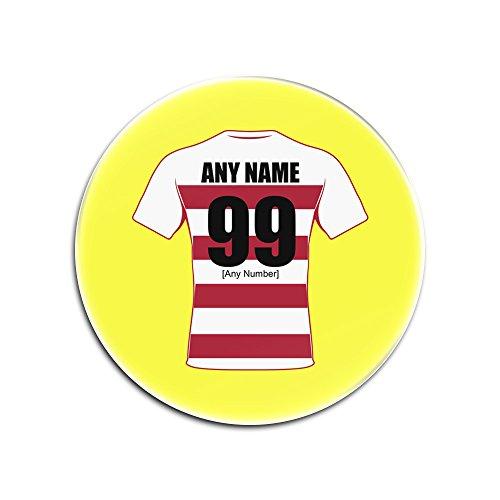 UNIGIFT Glasuntersetzer mit Wigan Warriors (Rugby League-Design, Farboptionen) - Jeder Name/Nachricht auf Ihrem einzigartigen Pad - Riversiders The Cherry and Whites, Glas, Gelb, Rund
