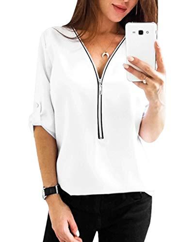 YOINS Sexy Oberteil Damen Sommer Elegante Langarmshirts Damen Bluse Tunika Frühling T-Shirt V-Ausschnitt Tops EU46 Weiß(größer Als Reguläre Größe) X-Large