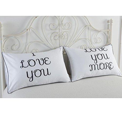 kingko® Ein Paar 74 * 48 cm Drucken-Paarkissen Bettwäsche-Hochzeits-Jahrestags-Romantisches Geschenk (D)