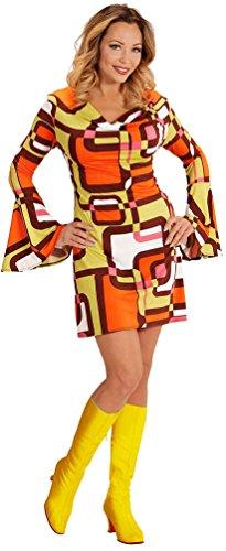 Karneval-Klamotten Hippie Kostum Damen 70er Jahre Damen-Kostüm Retro Kostüm orange braun Karneval Damen-Kostüm Größe ()